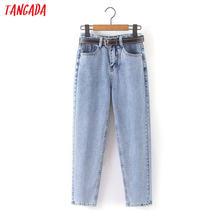 Tangada — Pantalon en jeans avec ceinture pour femme, grandes poches à la taille, à fermeture éclair, à la mode, HY41, 2020