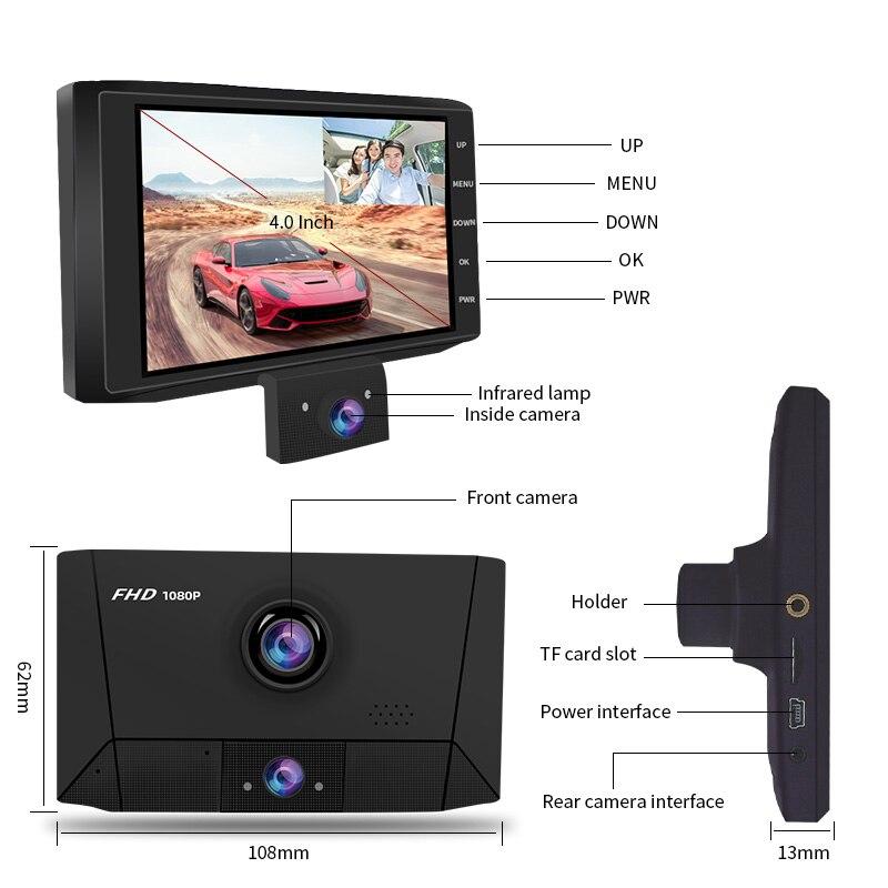 E-ACE B13 Автомобильный видеорегистратор 1080P FHD видеорегистратор 4,0 дюймов Автомобильная камера 3 камеры s объектив видео рекордер с камерой зад...