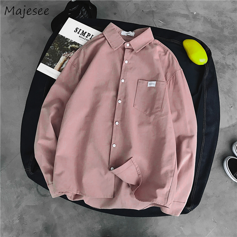 Shirts Men Solid Autumn Long Sleeve Shirt Harajuku Simple Mens Korean Style High Quality Males Hot Sale Clothes All Match Casual
