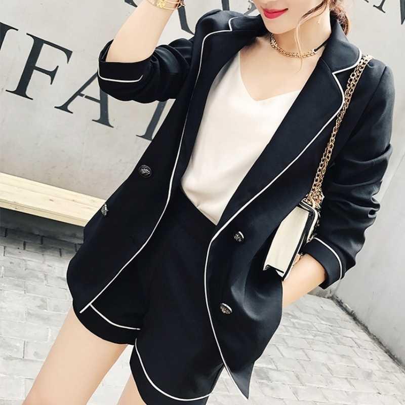 カジュアル 2 個セットノッチ襟スリムブレザーとショートパンツエレガント黒ファッションオフィススーツ高品質黒