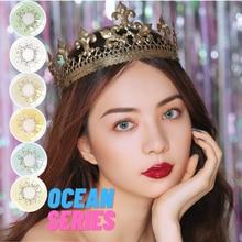 Цветные красивые контактные линзы серии ocean 2 шт косметические