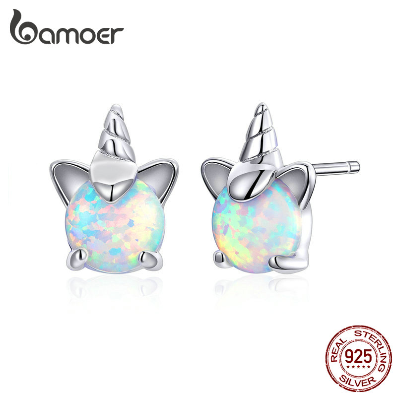 Bamoer Stud-Earrings White Opal Hypoallergenic 925-Sterling-Silver Kids Women Genuine title=