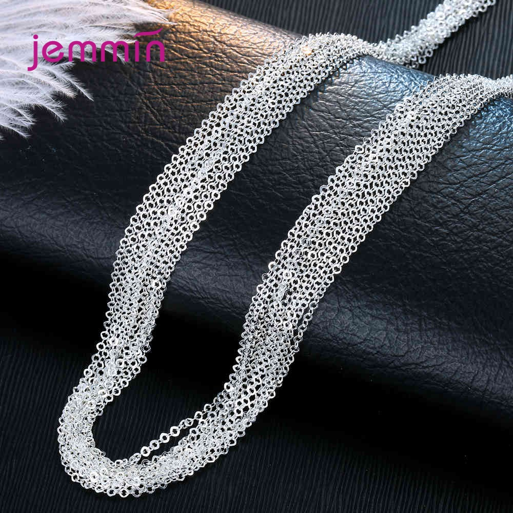Wholesale 50pcs/Lot Women 925 Sterling Silver Necklaces Exquisite Finding Making Chain Accessory Christmas DIY Jewelry Gifts