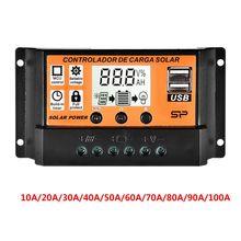 MPPT 10A/20A/30A/40A/50A/60A/70A/80A/90A/100A Auto LCD Screen Solar Charge Controller Dual USB Solar Panel Regulator   QW