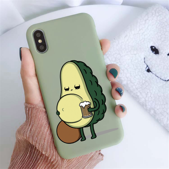 Green Matte Avocado Phone Case For iPhone XR X XS Max 5 5S SE 2020 7 8 6 6S Plus Silicon TPU Cover For iPhone 11 12 Pro Max Case 5