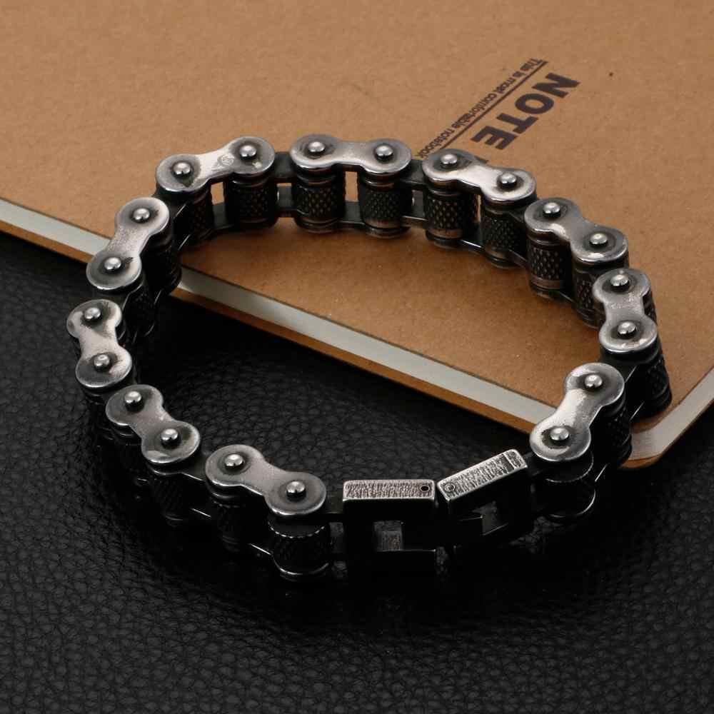 11/13 millimetri di Larghezza di Titanio Dell'acciaio inossidabile Motor Biker Braccialetto Per Gli Uomini del Motociclo Punk Braccialetto Chain