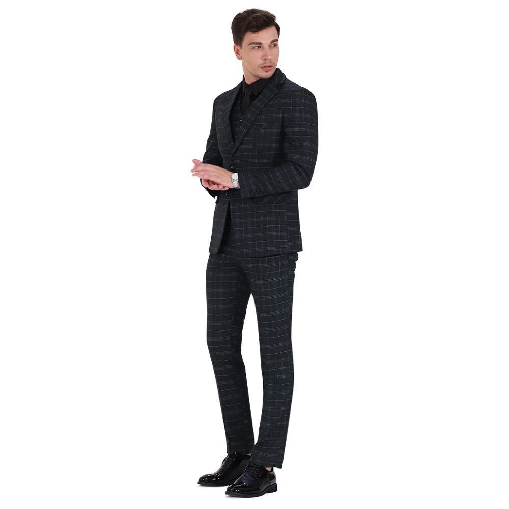 Traje clásico de 3 piezas traje de hombre de negocios fiesta de bodas del novio Casual Blazer Delgado - 5