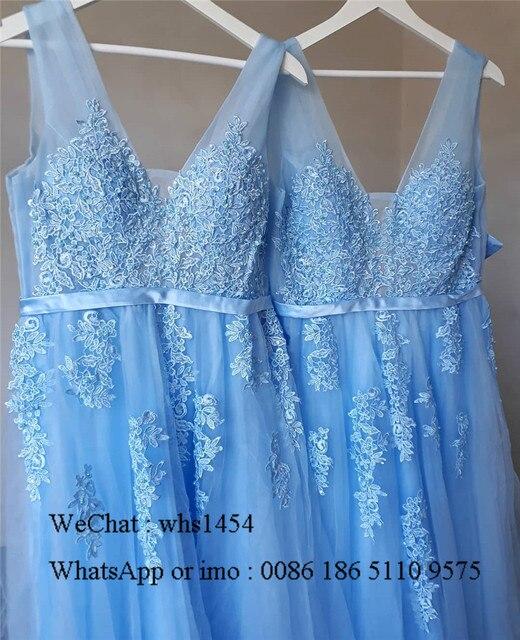 Mbcullyd V-neck Light Blue Bridesmaid Dresses For Women 2020 Long Wedding Guest Dress Applique Lace sukienki na wesele damskie 3