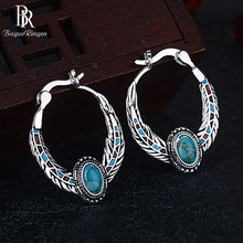 Bague Ringen Luxury Turquoise Earrings for Women Eagle Feather shaped Silver 925 Jewelry Ear drops for Party Banquet Wholesale(China)