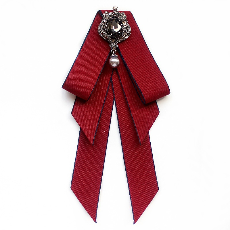 1 Pcs Faux Pearl Rhinestone Brooches Pin Bow Brooch Pre-Tied Bow Tie Vintage Velvet Neck Tie Collar Shirt Dress Decoration Necktie for Women Girls Wedding Party Bow Tie Accessories Red