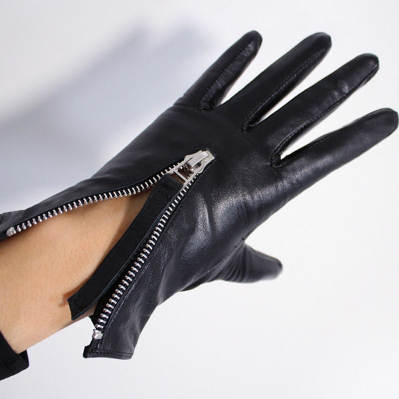 Image 5 - Touchscreen Genuine Leather Gloves 21cm Short Style Pure Imported Goatskin Bright Leather Black Female Touch Silver Zipper WZP10Womens Gloves   -