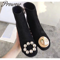 Hot Black Genuine Leather Round Toe Zip Side Ankle Boots Round Heel HIgh Heel Boots Autumn Winter Fashion Women Boots