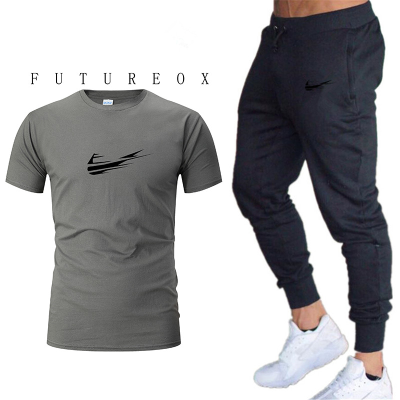 Summer Hot Sale Men's Sets T Shirts+pants Two Pieces Sets Casual Tracksuit Male Tshirt Gyms Fitness Trouser
