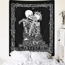 Halloween Skull Tapestry skeleton Black Tarot mandala boho decor for Room macrame wall tapestry