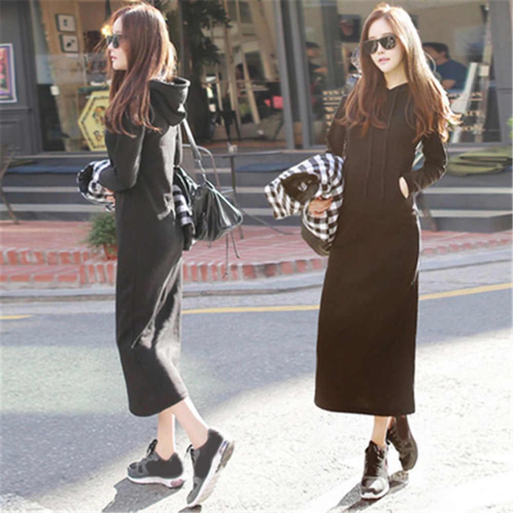Черное женское платье с длинным рукавом Осенний хлопковый Макси Зимний свитер модный Повседневный