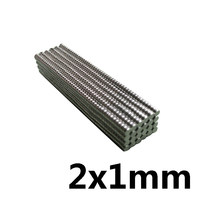 Imán redondo pequeño de neodimio, 2x1mm, 2x1mm, 2x1mm, imán fuerte permanente de NdFeB 2x1, miniimán de disco, 100 ~ 500 Uds.