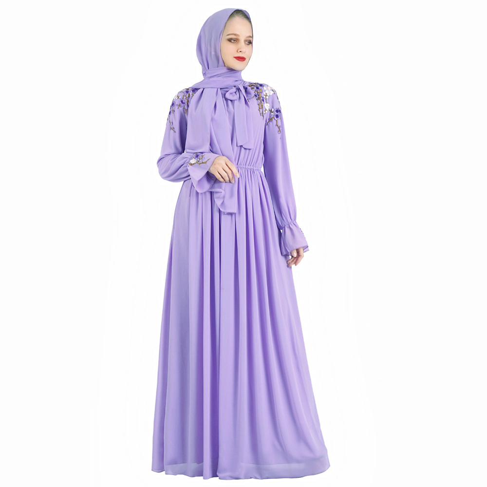 Purple Embroidery Abaya Dubai Turkey Hijab Muslim Dress Kaftan Caftan Abayas Islamic Clothing For Women Ramadan Dresses Musulman