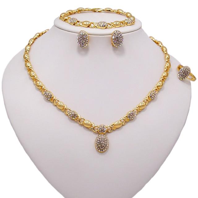 Conjunto de joyería en forma de O de cristal para boda, collar, pendientes, pulsera, anillo, Color dorado, de alta calidad, novedad, venta al por mayor 3