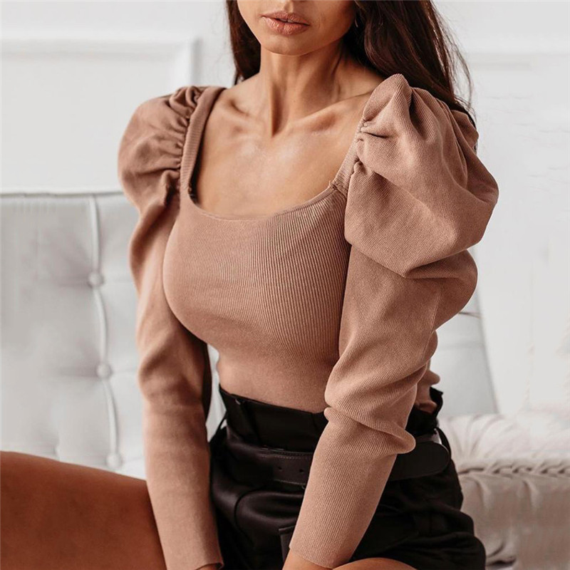 Fashion Women Knitted Puff Long Sleeve OL Bodysuit Elegant Badnage Slim Shirt Body Top Casual Slim Fit Office Lady Leotard
