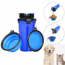Portable 2 in 1 Pet Dog Travel Water Bottle Food Container With Folding Silicone Bowl Outdoor Cat Feeder Cup