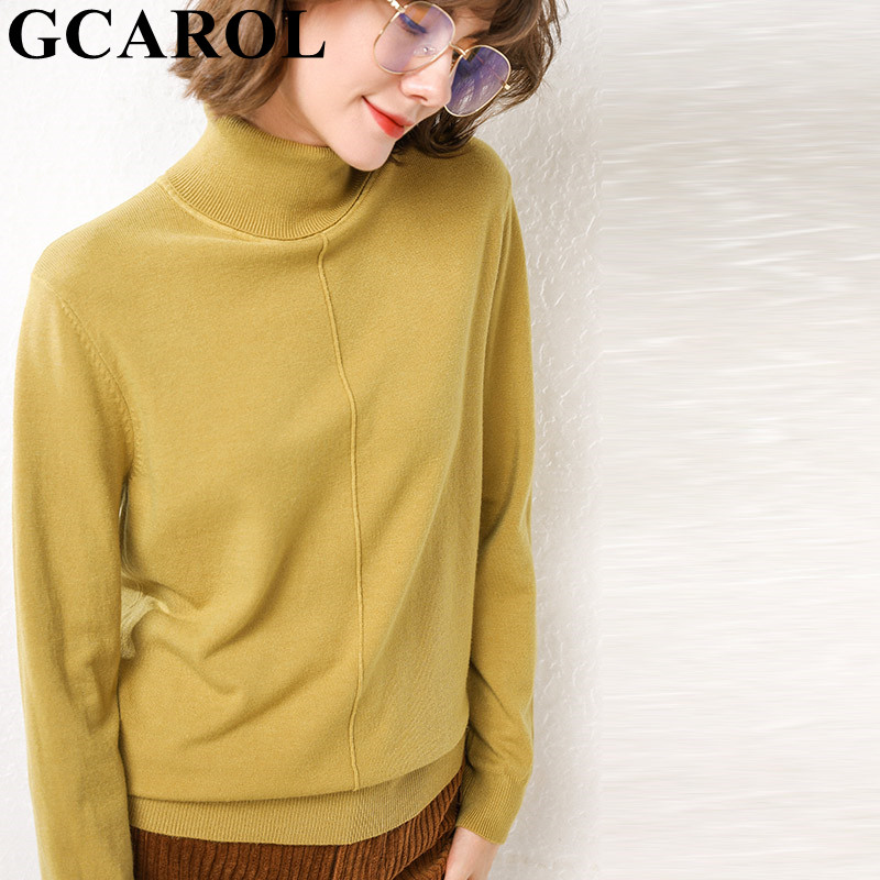 GCAROL New Women Turtleneck Sweater 30% Wool Candy Warm Elegant Jumper Stretch Cashmere OL Base Knit Pullover Plus Size 2XL