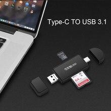 Tipo C & Leitor de Cartão OTG Micro USB & USB 3 Em 1 High speed USB2.0 Universal OTG TF /SD para Computador Android Cabeçalhos de Extensão