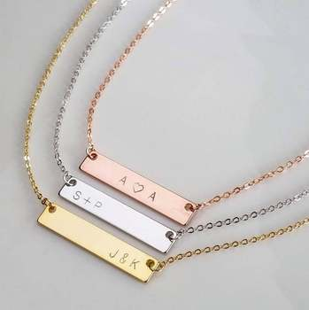 Personalized Name Necklace Initial Necklace Custom Gold Bar Necklace Christmas Gift Personalized Necklace Nameplate Necklace sideway customised double nameplate necklace personalized two name pendants jewelry family name bar necklace christmas gift