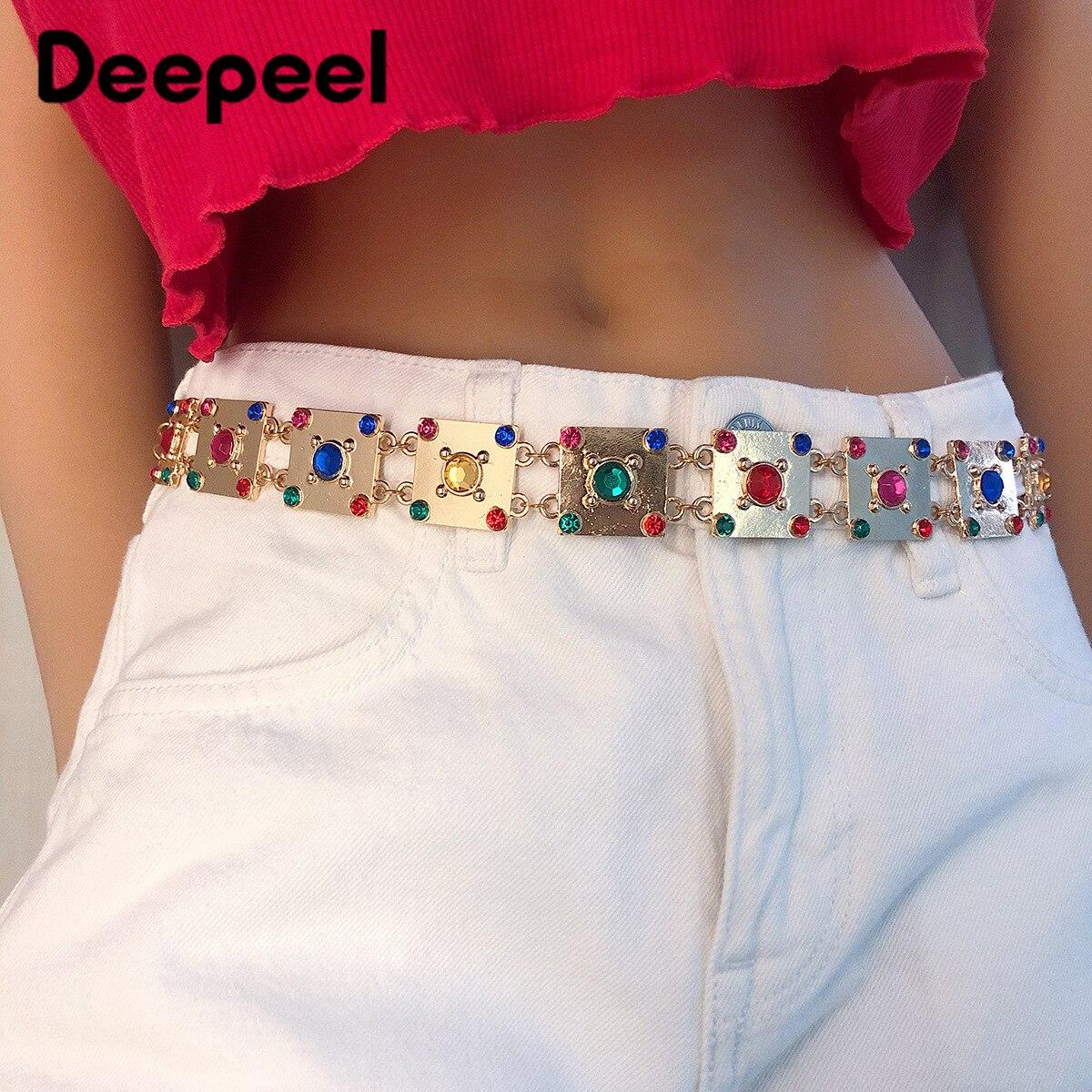 Deepeel 1pc 2.5cm*80-100cm Women Color Diamond Metal Cummerbunds Trendy Waist Chain Shinny Colorful Adjustable Girdle CB649