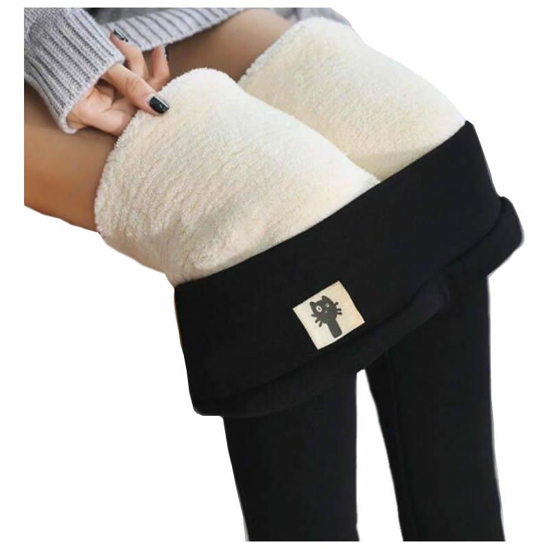 Black Women Leggings Warm Pants Winter Skinny Thick Velvet Casual Wool Fleece Female Trousers Lambskin Cashmere Ladies Plus Size