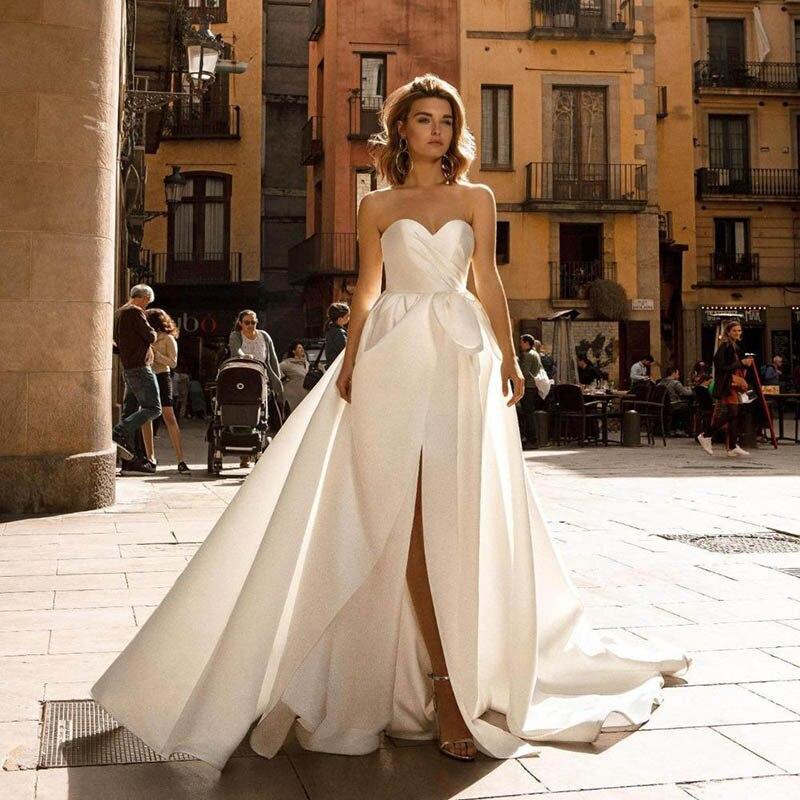 Smileven plage robe de mariée une ligne chérie mariée robes côté Split grand arc de mariage Boho robes de mariée