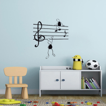 Wall Sticker Music Notes Funny Guys for Living Room Vinyl Stickers Instrumen art Creative Airplanes With Clouds