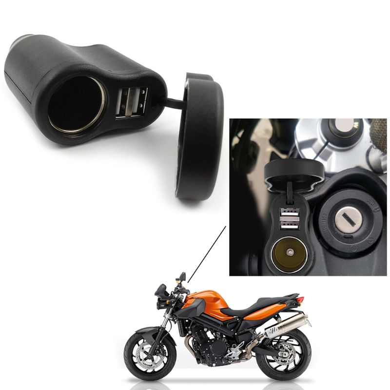 1 Pc Motorcycle Dual USB Charger <font><b>DIN</b></font> Cigarette Lighter Socket For <font><b>BMW</b></font> Triumph Hella Motorbike Accessories image