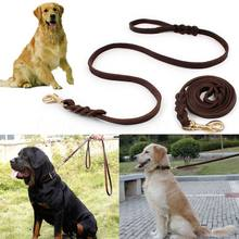 2M Long Leather Braided Pet Dog Walk Traction Collar Strap Training Leash Lead(China)
