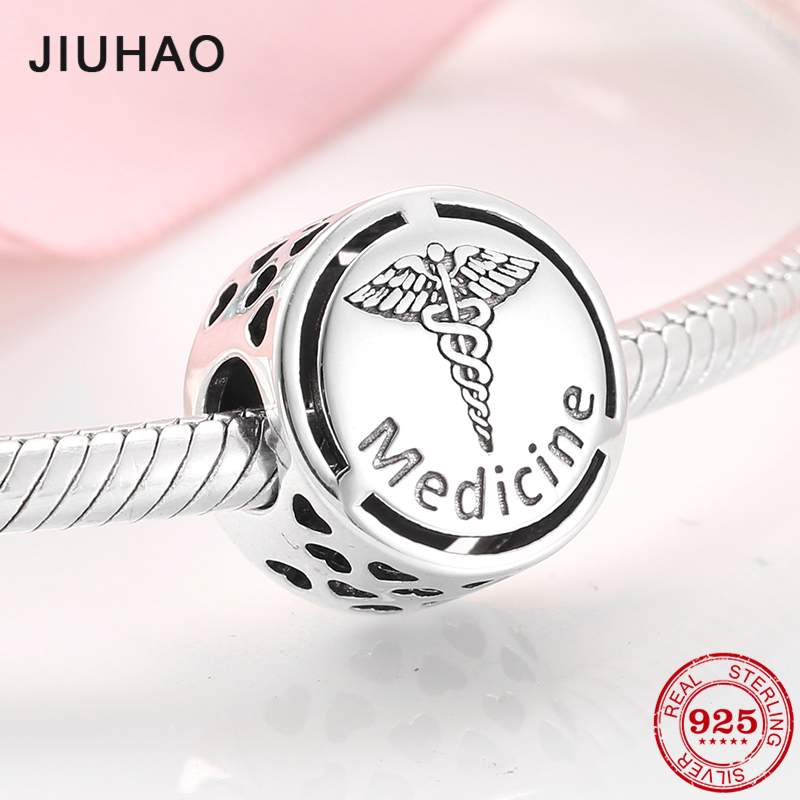Authentic 925 Sterling Silver Charms Medicine Sign Charms Beads Fit Original Pandora Charm Bracelet Jewelry Making
