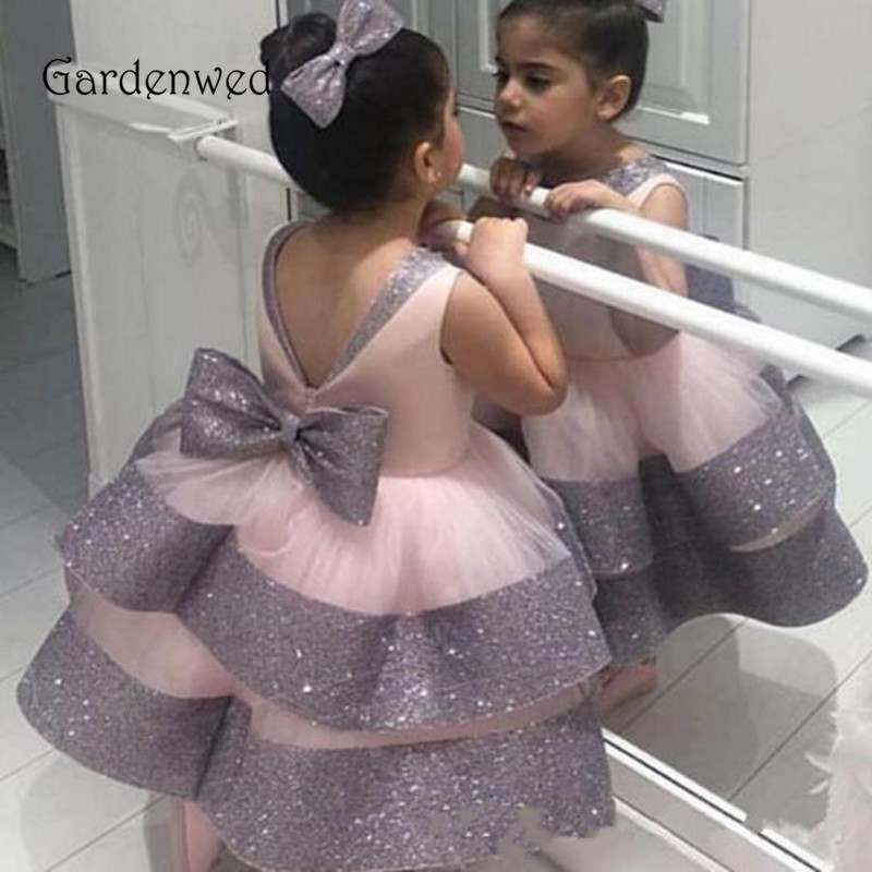 GARDENWED Lovely Pink Flower Girl Dresses 2020 Shiny Tiered Skirt Ball Gown Big Bow Little Pageant Girls First Communion Gowns
