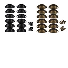12Pcs Door Drawer Cabinet Iron Shell Cup Semicircle Handle Pull Knob With Screws 8.1Cmx3.2Cm(China)