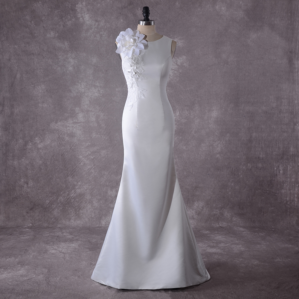 Booma African Women Wedding Dresses Mermaid 2020 White Bride Dresses Plus Size Soft Satin Wedding Gowns High Quality Mariage