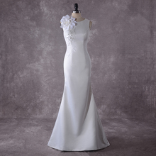 Booma African Women Wedding Dresses Mermaid 2020 White Bride Plus Size Soft Satin Gowns High Quality Mariage