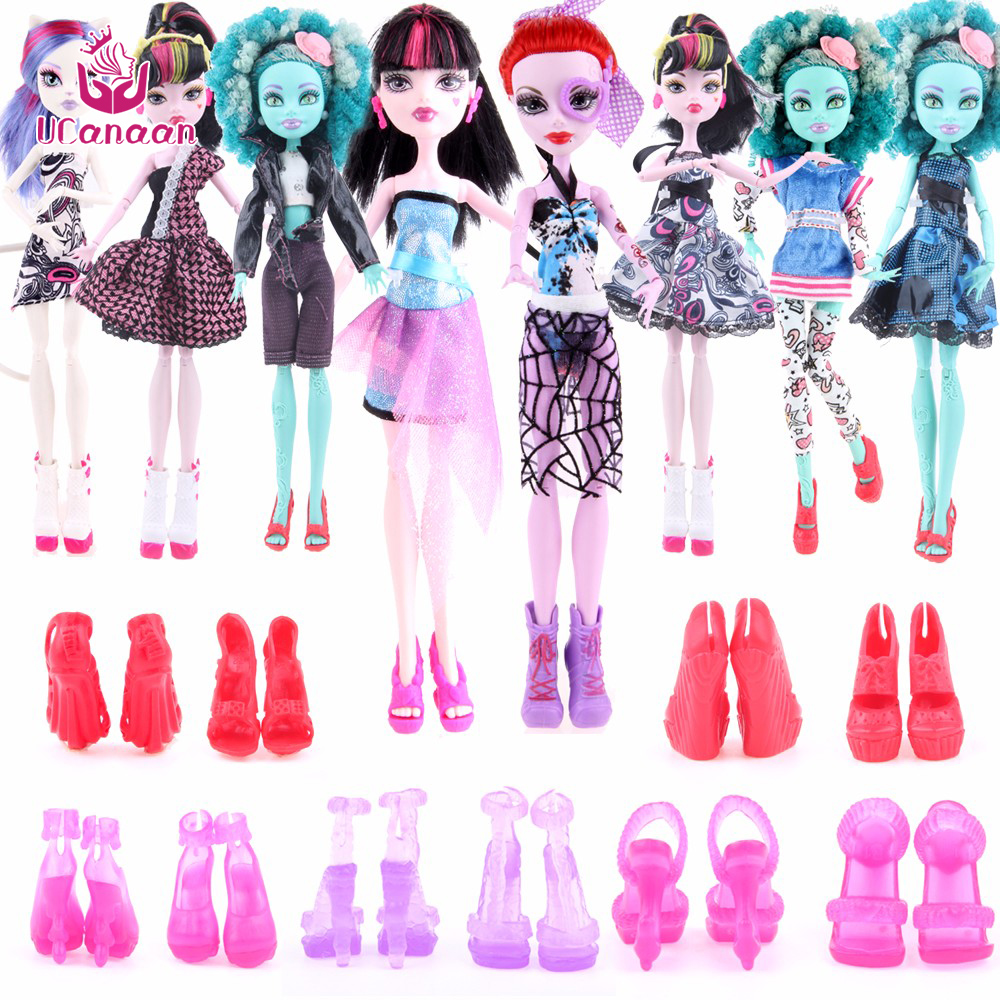 Cheapest! 10 Items  5 Suit Clothes + 5 Pair Shoes Monster Doll High Accessories Fashion Clothes For Original Monster Hight Dolls