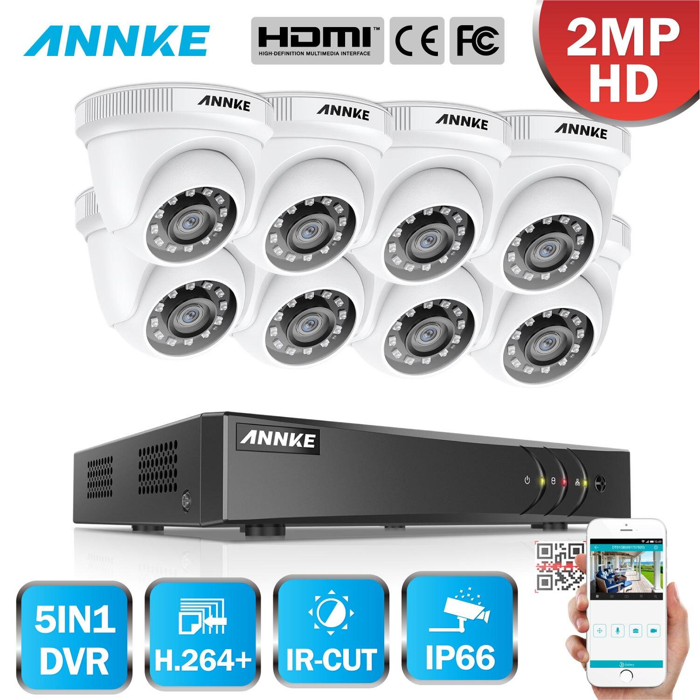 ANNKE 1080P 8CH H.264 CCTV Camera DVR System 8pcs Waterproof 2.0MP HD-TVI White Dome Cameras Home Video Surveillance Kit