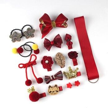 18Pcs/Set Baby Girl Cute Headband Turban Darling Bows Kids Headwear Elastic Hair Bands Clips Hairpins Set Baby Accessories Gift