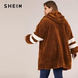 Image 5 - SHEIN artı boyutu Varsity çizgili kapşonlu oyuncak ceket kadınlar sonbahar kış rahat artı Colorblock flanel dış giyim uzun palto