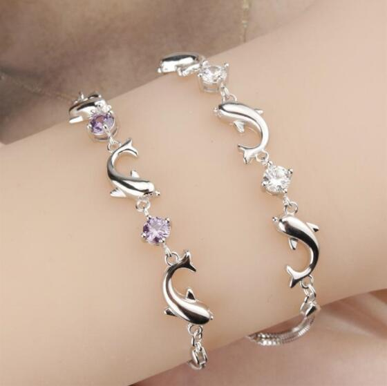 Fashion 925 Sterling Silver Chain Bracelets For Women Party Cute Dolphin Bracelet Bangle Luxury Crystal CZ Jewelry Gifts