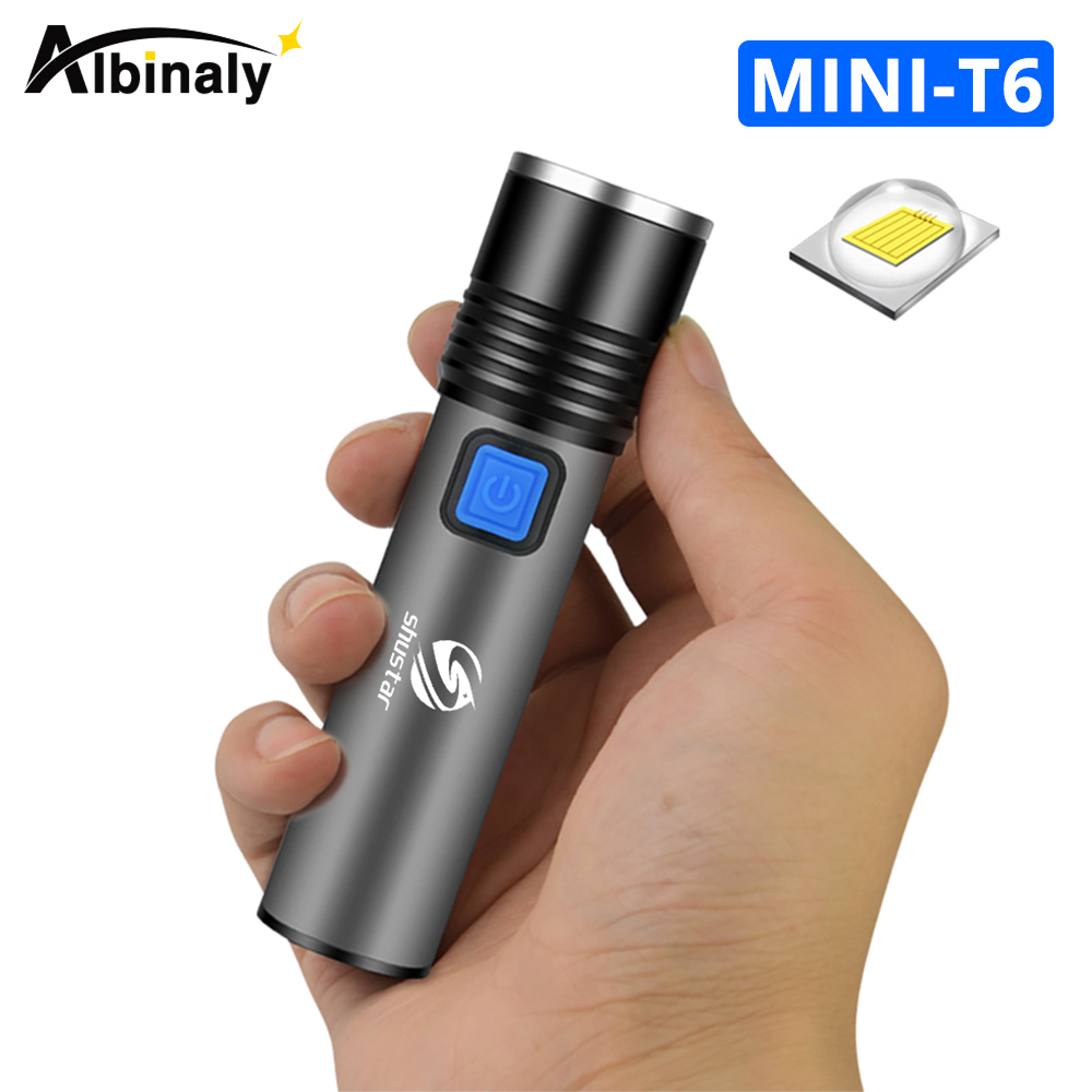 Super Bright Rechargeable LED Flashlight Waterproof Torch 3 Lighting Modes Zoomable Camping Light With T6 LED