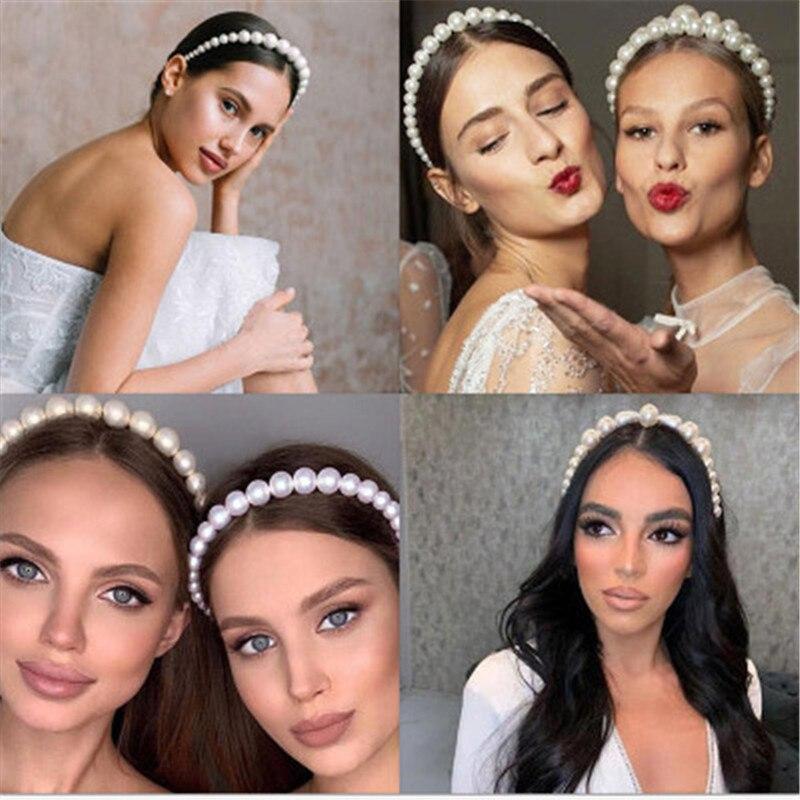 Diademas elegantes íntegramente con perlas para mujer, diadema sencilla, aros para el pelo, soporte de adorno, banda para la cabeza, accesorios para el cabello para mujer|Joyería para el cabello|   -