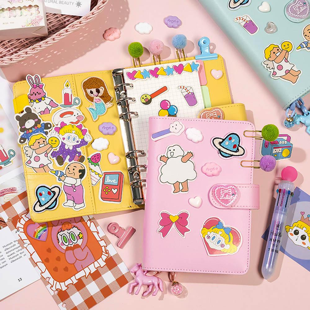 Ring Binder DIY Notebook Lovely Girls DIY Scrapbook Notebook Creative A6 Spiral Diary Book