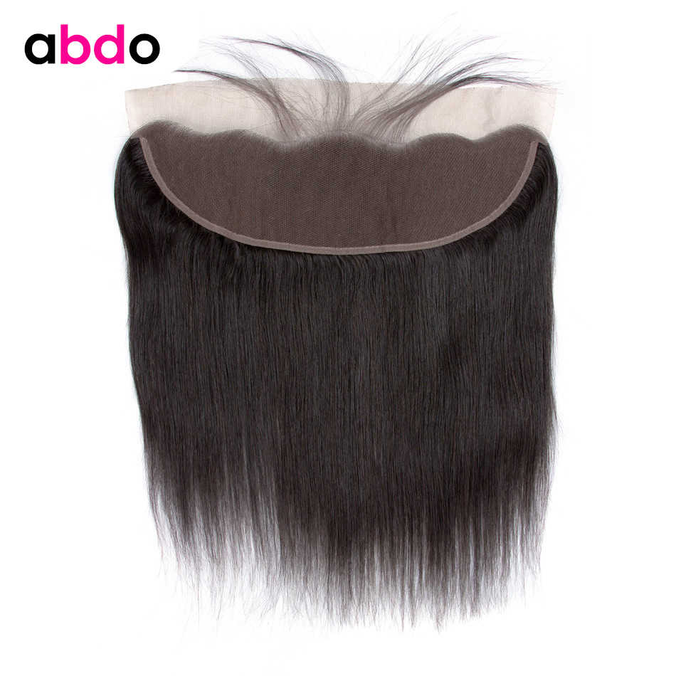 Straight Human Hair Lace Frontal Closure Middle/Three/Free Part 13x4 Lace Front Closure With Baby Hair Indian Remy Hair Abdo