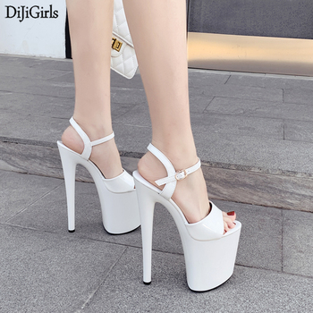 cocoafoal women red heel height sandals plus size 33 40 fashion black pink wedding shoes sexy sheepskin sandals 2018 Size 35-41 Black Sandals 20cm Ultra High Heel Sandals Sexy Stripper Shoes Women Gladiator Platform Sandals Summer Party Shoes