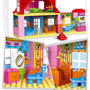 Image 4 - Blocos de construção de tijolos, compatível com duploed, casa para família, blocos de construção, diy, brinquedo de tijolos para crianças