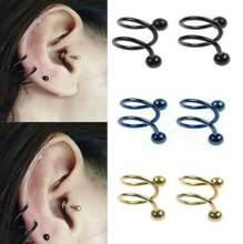 2pcs/lot Gauge 16G Ball Steel Anodized S Double Spiral Twister Barbell Earring Ear Cartilage Helix Lip Rings Tragus Piercing(China)